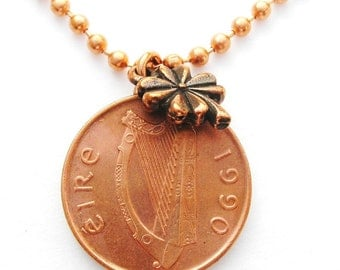1990 IRISH 1 PENNY Irish Coin Lucky Four Leaf Clover Necklace -Irish Necklace