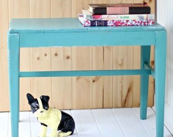 Vintage Painted Bench, Chippy turquoise blue