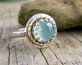 Aqua Chalcedony Ring, Sterling Silver with Gold Trim, Mixed Metal, Gemstone Ring, Hammered Band