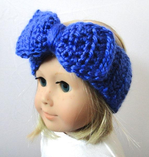 American Girl Doll Blue Bow Headband Knit By Preciousbowtique