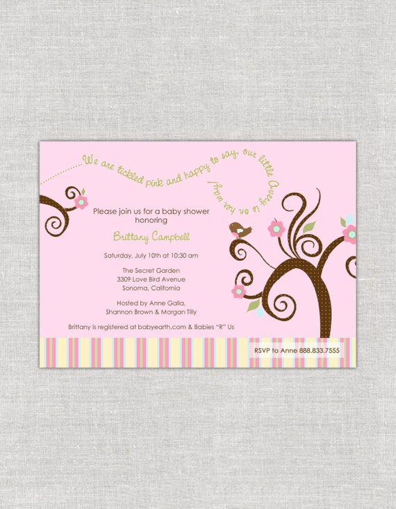 Love bird baby shower invitation pink baby shower invites birdie il570xn filmwisefo Image collections