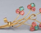 Vintage Gold STERLING Art Deco Rhinestone Floral Brooch / Art Deco Floral Pin / Sterling Vermeil Brooch/Gold Floral Brooch