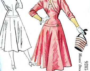 Vintage 1950's McCall's Pattern 9285 - GLAMOROUS EVENING Cocktail Drop Waist Dress and Jacket // Size 12 or Size 18