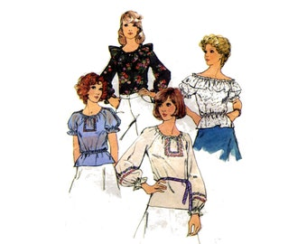 1970s Peasant Blouses Sewing Pattern Off Shoulder Long or Short Sleeve Simplicity 6412  Size Small Raglan Sleeves