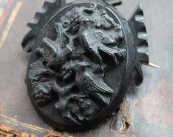 Large Victorian Eternal Love Vulcanite Mourning Brooch