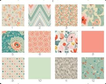 Crib Sheet { Rapture Subtle Joy Collection } Coral Mint Green Chevron Floral