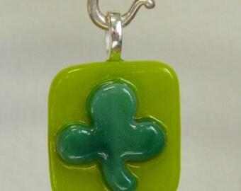 Fused Glass Shamrock Pendant, Irish Seamróg (little clover), P7