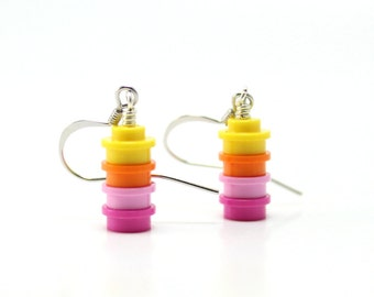 Sunset Ombre Earrings made from New LEGO® Pieces, Pink Ombre Earrings, Yellow Ombre Earrings, Dangly Earrings