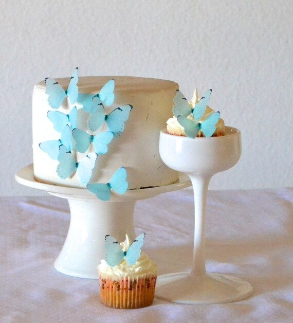 Ready Made Cake Decorations Asda : 24 EDIBLE Baby Blue or Pink Butterflies - Cake & Cupcake ...