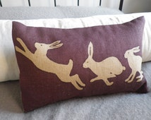 hand printed  triptyque hare  cushion cover