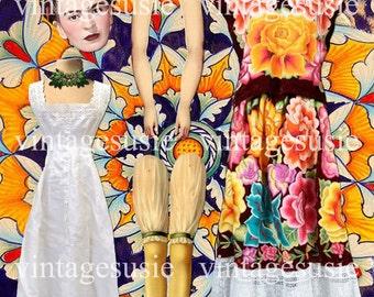 Favorite ARTISTS Series Art Paperdoll Collage Sheet 'Frida Kahlo' Digital Download