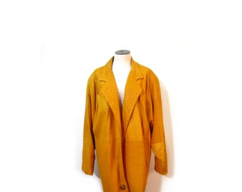 Vintage 80s Oversized Unisex Buttery Soft Turmeric Leather Coat women men s m l indie hipster grunge retro cosby grunge vestiesteam