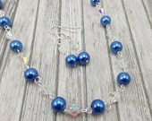 Necklace and Earring Set - Royal Blue Glass Pearls with Aurora Borealis Glass Beads - Cobalt - Horizon Blue