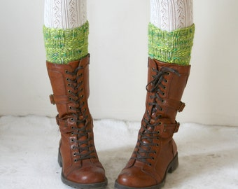 Apple Green knit boot cuffs // leg warmers // boot toppers // boot socks Gift under 50 Christmas Gift for her