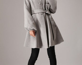 Winter jacket, short jacket, Grey wool coat, hooded jacket, dress coat, womens clothing, Mod coat, wool coat, Custom coat, ladies coats 759