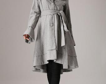 Gray coat winter jacket  wool coat ruffled collar coat (763T)