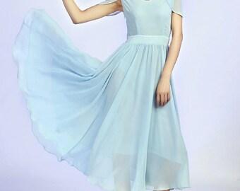 Light blue chiffon maxi wedding dress prom dress (608)
