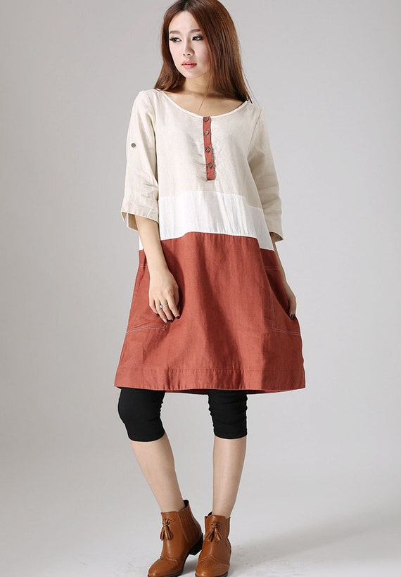 Loose dress, Casual linen dress woman Midi dress custom made patchwork dress (833)