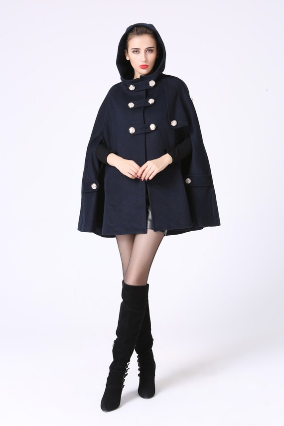 Cape coat hooded cape wool cape double breasted coat navy