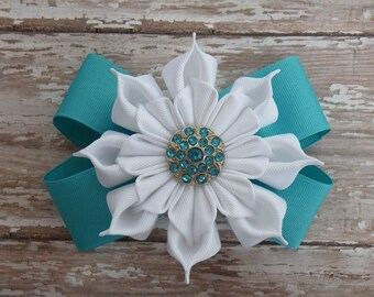"""5""""  Turquoise and White Ribbon Flower bow, Snowflake Bow, Turquoise Bow"""