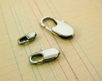 1 Stainless Steel Lobster Clasp - Flat Oval Style - Sturdy and Shiny Clasps - Your Choice of Three Sizes - 100% Guarantee