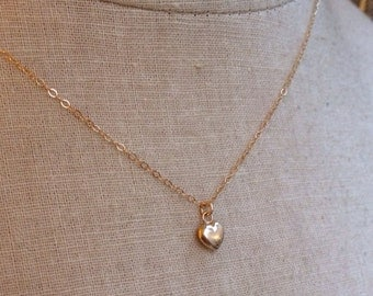 Baby Heart Necklace, Gold Heart Necklace, Puffy Heart, Heart of Gold, Sweetheart, Bridesmaid Necklace, Love Necklace, Flower Girl, Grad Gift