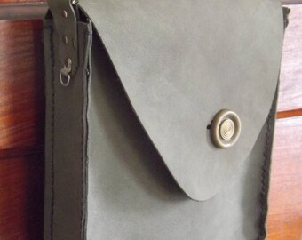 Sky gray leather purse handmade by me Victorian Butterflies on back Vintage button Valentine gift for her