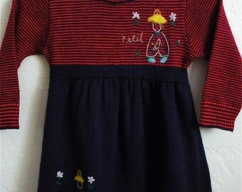Vintage Toddler Girl's 80's Dress, Novelty, Acrylic, Red, Navy Blue, Striped, Long Sleeve (18 mos)