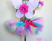 Rainbow Butterfly Fairy Pixie Cut Tutu Set Infant - 5T