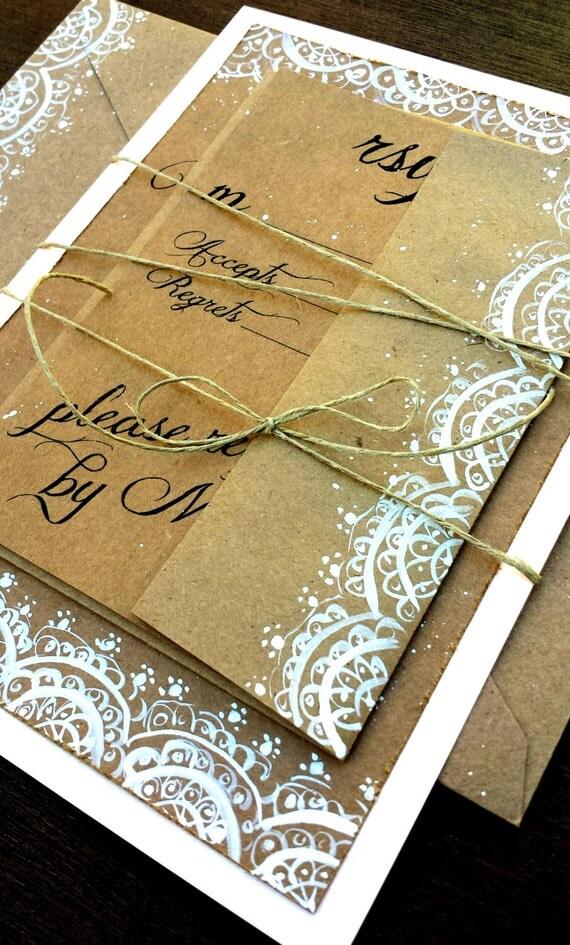 items similar to lace wedding invitation hand painted on etsy With hand painted wedding invitations etsy