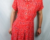 Vintage 1940s Barbette of Bemberg Rayon Yarn Rayon Dress