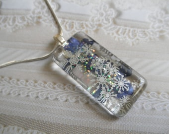 Enchanted Snowfall-Blue Verbena & Silver Snowflakes Glass Rectangle Pressed Flower-Pendant-Gifts Under 30-Nature's Art-Symbol of Enchantment