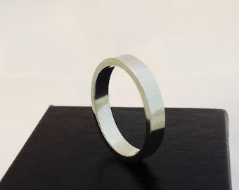 Wedding Band - 14k White Gold Plain Band - Men's Wedding Ring - Anniversary Band - Woman's Wedding Band