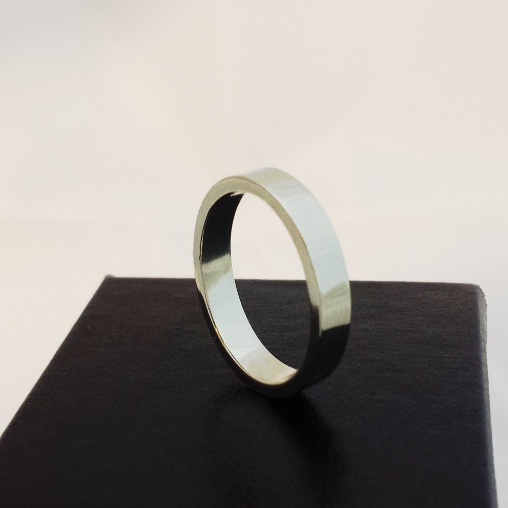 Wedding Band 14k White Gold Plain Band Mens Wedding