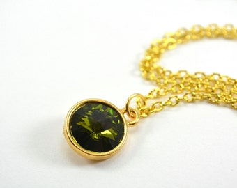 Green Necklace Olive Green Crystal Necklace Swarovski Crystal Gold Necklace Olive Green Jewelry