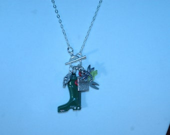 Gardening Charm Toggle Necklace , Gardening Boot Charm Necklace
