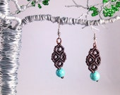 Turquoise Magnesite and Chocolate Brown Macramé Earrings