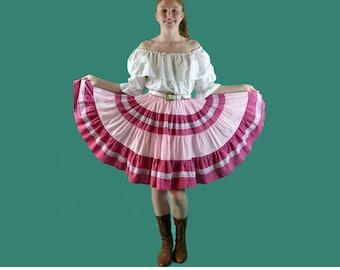 Vintage 70s Folk Skirt Ruffled Gypsy Mini Skirt DIRNDL FESTIVAL Full High Waist Pink Lace Trim Square Dance Skirt Hippie Circle Skirt XS S M