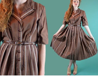 Vintage 50s Dress Brown Plaid Cotton 50s Day Dress NELLY DON Retro Zig Zag Stripe Full Pleated Skirt Shirtwaist Rockabilly Day Dress S / M