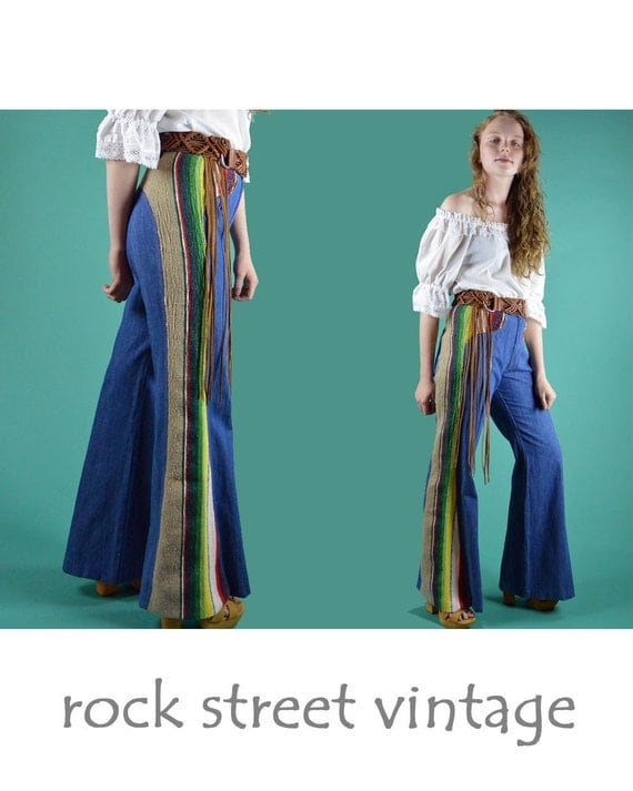 Vintage 70s High Waist BELL BOTTOM Jeans Tribal Indian Blanket