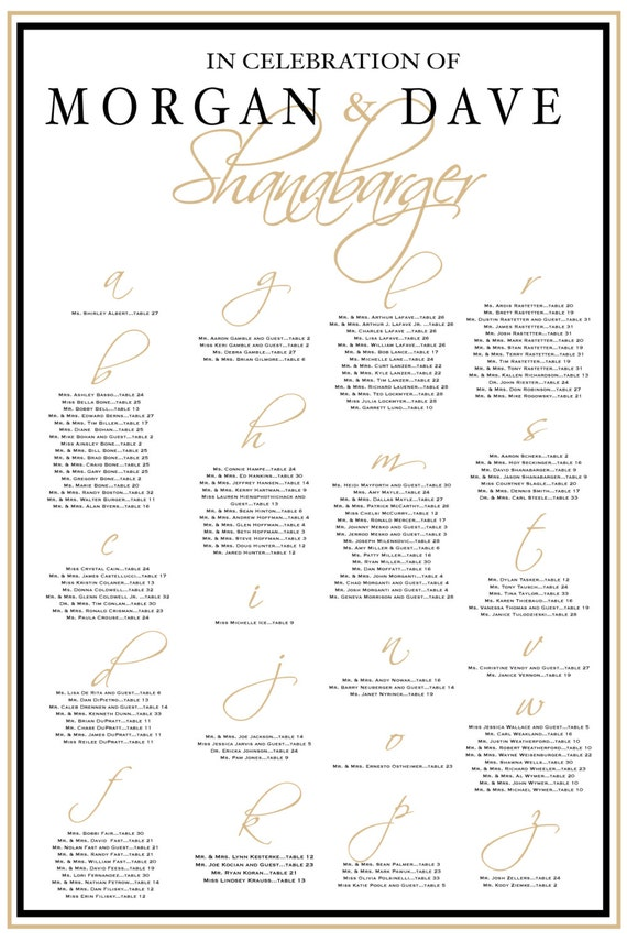 Seating Chart Table Seating Template Seating Assignment