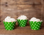 24 Green Polka Dot Cupcake Wrappers - Green Cupcake Wrappers - Great for Birthday Parties, Baby Showers & Bridal Showers