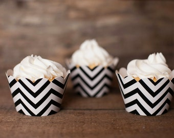 12 Black Chevron Cupcake Wrappers - Black Cupcake Wrappers - Great for Birthday Parties, Baby Showers, Bridal Showers & Halloween Desserts