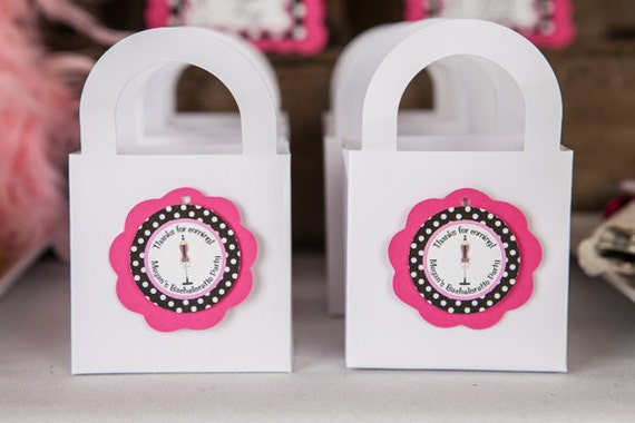 BACHELORETTE Party Favor Tags - Lingerie Shower Party Decorations - Bridal Shower Decorations in Hot Pink & Black Polka Dots