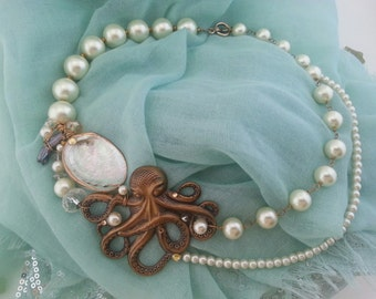 Octopus and seashell pearl Ocean necklace