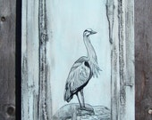 """Blue Heron I, 10"""" x 30"""", Acrylic & Mixed Media, Recycled Denim Painting on Gallery Style Canvas - Available for Custom Order"""