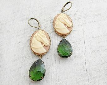 Horse Cameo Earrings, Green Rhinestone Dangle Earrings, Southwest Jewelry, Equestrian Jewelry - Cameo Horse