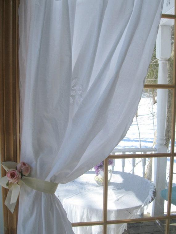Battenburg Lace Curtain Shower Curtain Cotton Lace Cottage