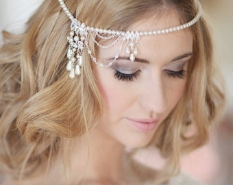 Bridal headpiece / wedding forehead band  /bridal browband / wedding headband / bridal hair accessory / PRIYA