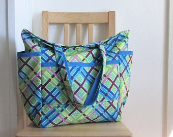 Retro Re-Mix Upcycled Large Weekender - Vintage Green Blue Plaid - Teacher / Market / Diaper Bag - Eco Friendly - Under 50 Her Gift - Happy